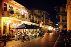 Panama City, Panama - October 20, 2014: Visitors and locals alike enjoy dining in the quaint and historic surroundings along the streets of Panama's old quarter.