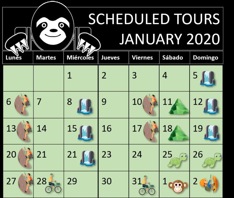 TOURS JANUARY 2020